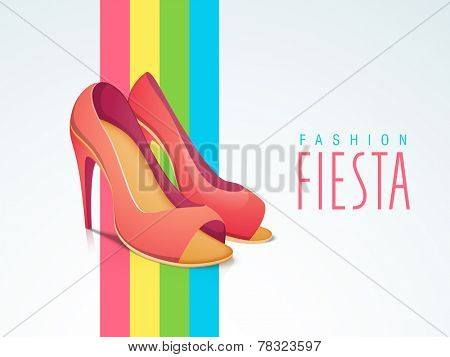 Women high heel sandals with stylish text of Fashion Fiesta on stylish background.