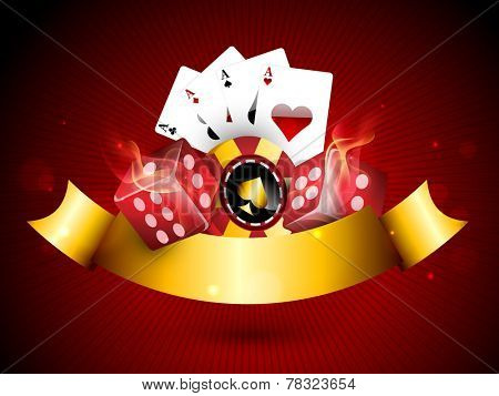 Casino objects set like casino chip, playing cards and glossy dices covered by golden ribbon on red background.