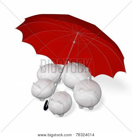 Piggy Banks Under An Umbrella