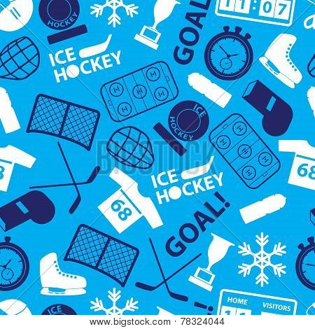 Ice Hockey Sport Icons Blue Seamless Pattern Eps10