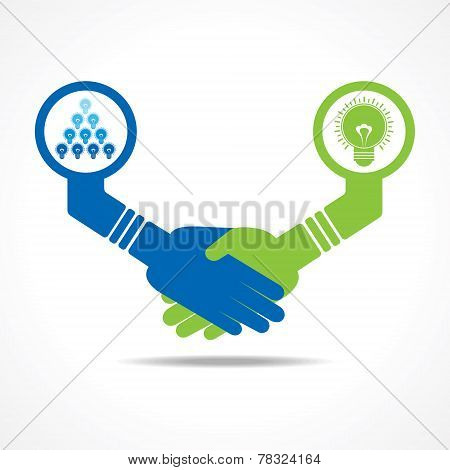businessmen handshake between leadership and teamwork stock vector