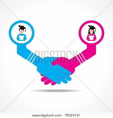 businessmen handshake between educated men and women stock vector