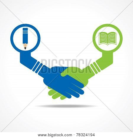 businessmen handshake between educated people stock vector