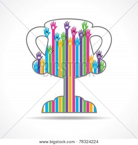 Colorful raised hand with education symbols in the winning cup stock vector