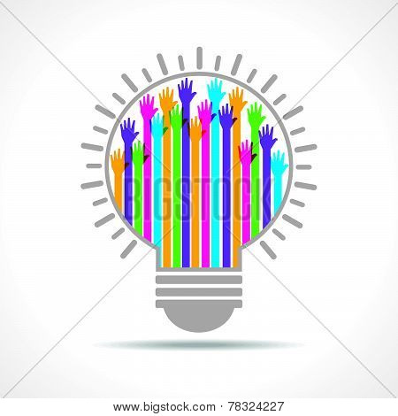 Colorful raised hand in the light-bulb stock vector