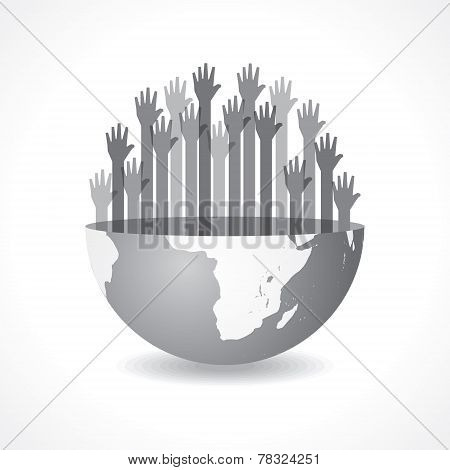 Grey raised hand on the half earth symbol stock vector