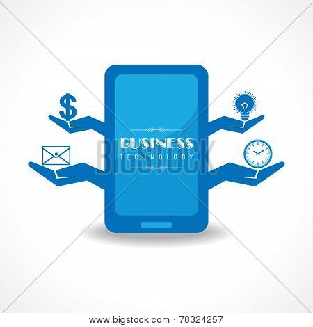 Business technology concept with mobile  stock vector