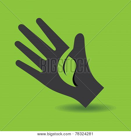 Human hand with green leaf symbol concept stock vector