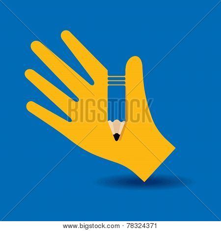 Human hand with pencil symbol concept stock vector
