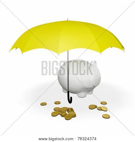 Gold Coins And Piggy Bank Under Umbrella