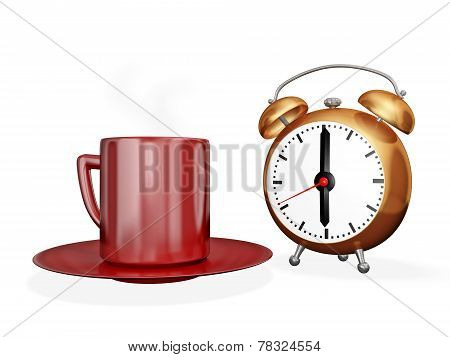 Tea Coffee Cup And Alarm Clock