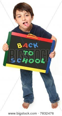 happy Boy mit zurück zur Schule