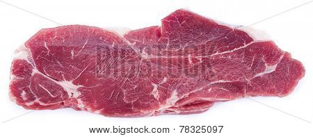 Slice of entrecote isolated on white background.