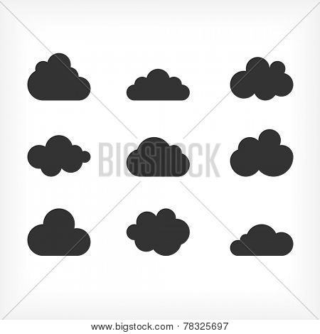 Vector black cloud icons set. Cloud shapes collection. Cloud icons for cloud computing web and app.