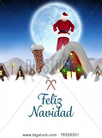Santa delivery presents to village against feliz navidad