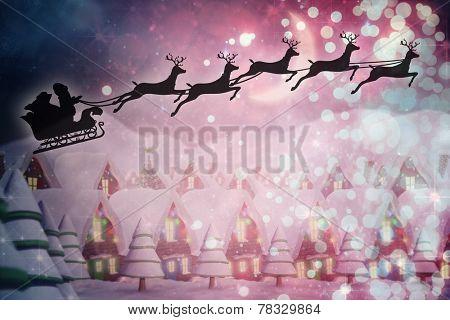 Silhouette of santa claus and reindeer against quaint town with bright moon