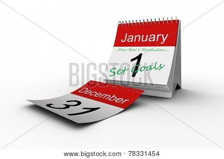 new years resolution against december page falling from calendar