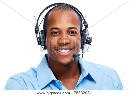 African American man in headsets isolated white background