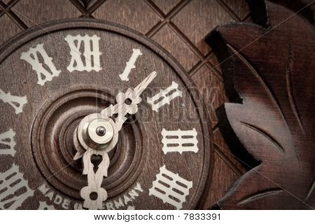 Close-up Of Old Wooden Clock