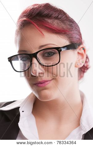 Redhaired Sexy Eighties Secretary With Glasses
