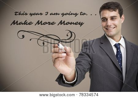 Young businessman writing something against grey background with vignette