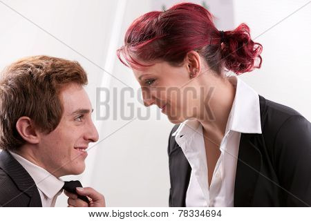 Woman Sweetly Staring At His Man
