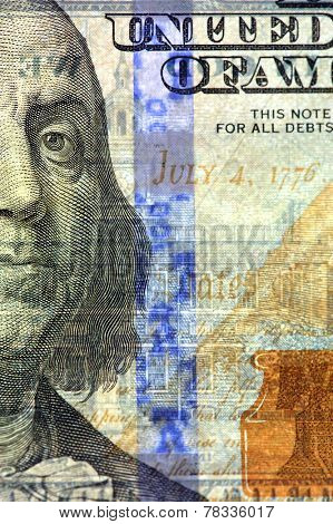 Watermark on redesigned new hundred dollar bill