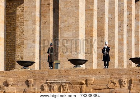 Ankara, Turkey - December 08, 2010: Guardsmen Of Ataturk Mausoleum, Anitkabir, Monumental Tomb Of Mu