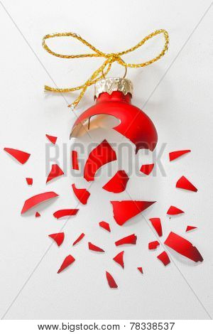 Broken Red Christmas tree ball isolated