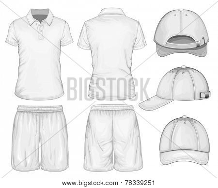 Men white short sleeve t-shirt, sport shorts & baseball cap design templates. Vector illustration.