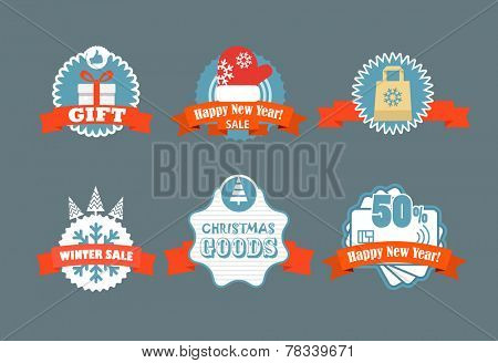 Winter vector discount labels. Vector vintage labels discount labels set