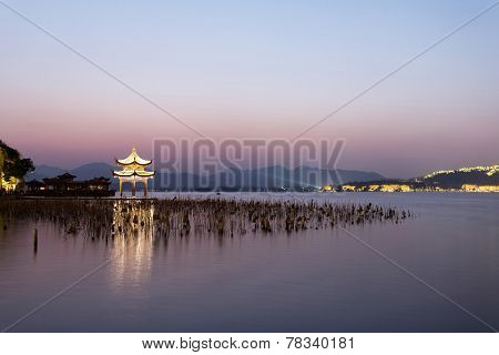 sunset waterscape of west lake in hangzhou,china
