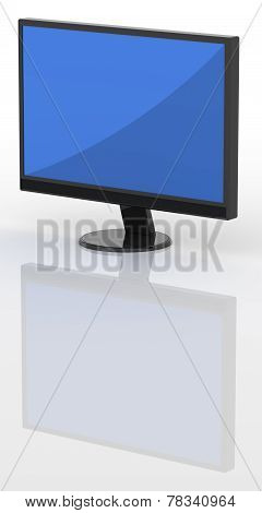 Modern Lcd Tv Isolated Over A White Background With Reflection.