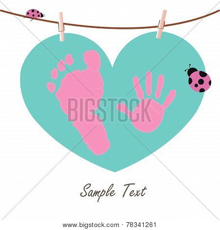 Baby Boy Hand And Feet Prints With Heart Greeting Card Vector