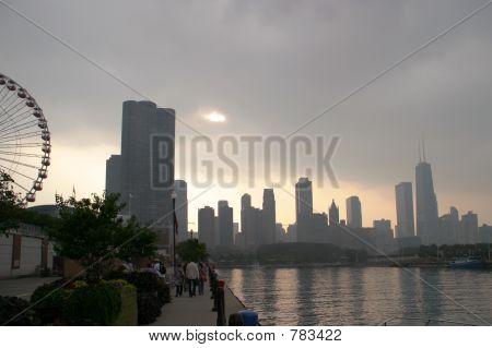 Chicago wolkenschleier Sonnenuntergang