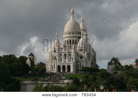 view of the sacre coeur from a balcony in Paris