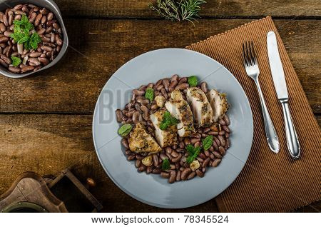 Roasted Chicken Breast With Herbs And Stewed Beans