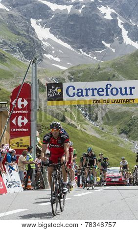 The Cyclist Amael Moinard On Col Du Lautaret - Tour De France 2014