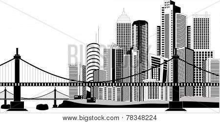 Black and white illustration of a cityscape