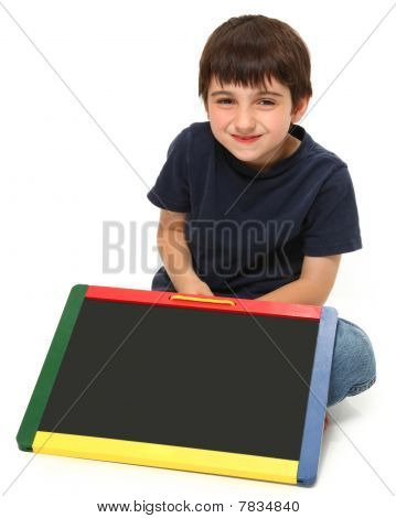 Happy Boy With Blank Chalkboard
