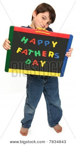 Happy Boy With Happy Fathers Day Sign