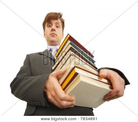 Waggish Man Holding Pile Of Textbooks