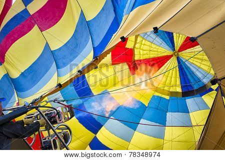 Hot Air Balloon Preparing To Fly