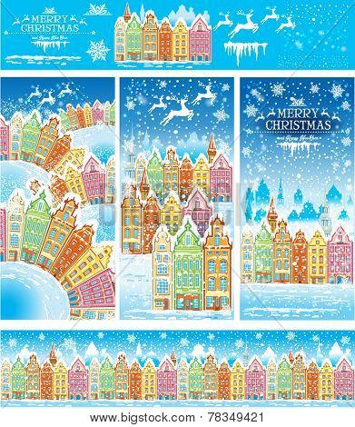 Christmas cards of a snowy old town with illustration elements and pattern brush