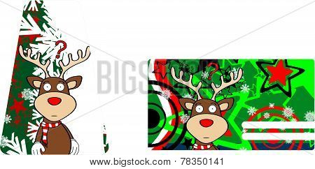 reindeer cartoon christmas card