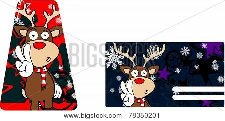 happy reindeer cartoon giftcard