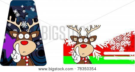 reindeer cartoon xmas giftcard