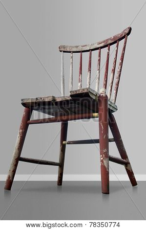 Old Worn Red Wooden Chair