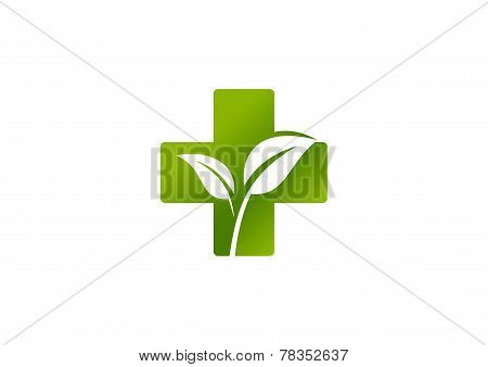 Green cross pharmacy leaf logo design vector