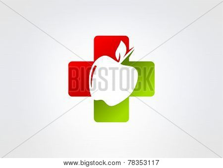 cross pharmacy apple vector logo design.